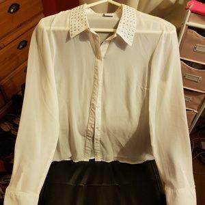 Vero Moda White Sheer Blouse and Black Blazer L